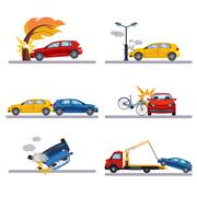 Car accidents set on white - stock illustration