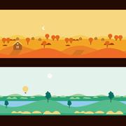 Background Seamless scenery seasons and landscapes, vector - stock illustration
