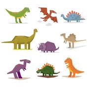 Dinosaurs and prehistoric period - stock illustration