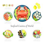 Stock Illustration of Seafood design set. Infographic food business seafood  idea