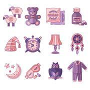 Sleep Time Icons Flat Vector Illustration Stock Illustration