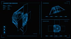 Looping, orthographic view of rotating wireframe model of AcrimSat spacecraft.  Stock Footage