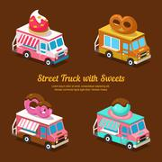 Sweets Food Truck, sweet isometric - stock illustration