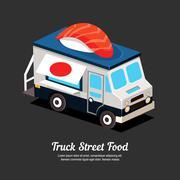 Mobile Food Van - stock illustration