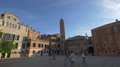 The Leaning Tower Santo Stefano seen on a sunny day in Venice Stock Footage