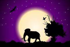 Violet sunset in the jungle and starry sky with old tree, birds and elephant Stock Illustration