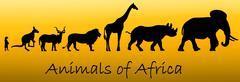 Silhouettes of animals of Africa: meerkat, kangaroo, kudu antelope, lion, gir - stock illustration