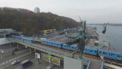 Aerial motion train metro rail in Kiev Stock Footage