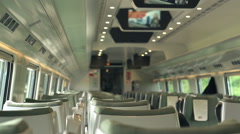 Empty train wagon during ride, super slow motion, shot at 240fps Stock Footage
