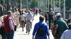4K UHD Cologne Köln Hohenzollern bridge Hohenzollernbrücke crowded crowds Stock Footage
