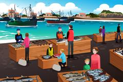 Fish Market Scene - stock illustration