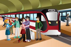 Kids Saying Farewell in the Train Station - stock illustration