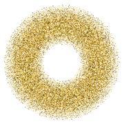 Golden confetti frame - stock illustration