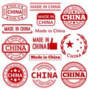 Stock Illustration of Set of various Made in China red graphics and labels