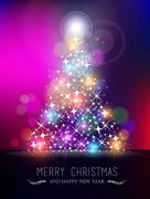 Merry christmas new year bokeh light blur pinetree Stock Illustration
