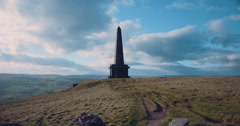 Stoodley Pike Monument in Todmorden West Yorkshire Stock Footage