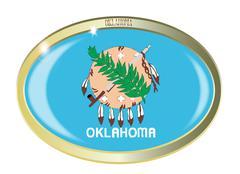 Oklahoma State Flag Oval Button - stock illustration