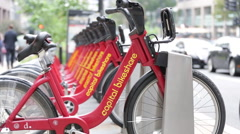 Capital Bike Share bike lined up on a rack (2) Stock Footage