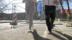Young sportive couple having run outdoor Stock Footage
