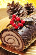 yule log cake, traditional of christmas time - stock photo