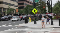 People crossing the street in Washington D.C Stock Footage