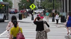 People crossing the street in Washington D.C. (4) Stock Footage