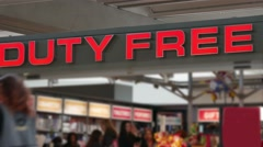 Duty-free shop sign over the entrance. Stock Footage