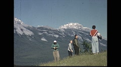 Stock Video Footage of Vintage 16mm Film, 1951, Banff, family admiring the Rockies in Banff