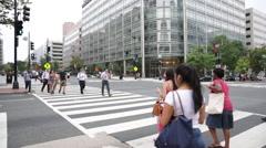 People crossing the street in Washington D.C. (5) Stock Footage