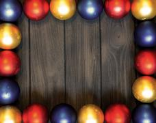 New year theme: high contrast christmas decor with balls on brown retro styli Stock Photos
