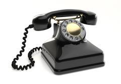 Vintage black telephone - stock illustration