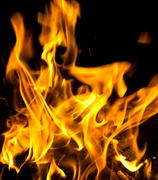 Flames of burning fire isolated on black background Kuvituskuvat