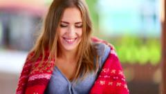 Girl with magazine Stock Footage