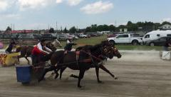 Slow motion of horse chariot race Stock Footage