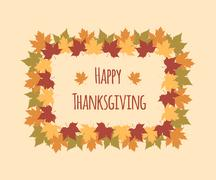 Stock Illustration of Greeting card for Thanksgiving Day with colorful maple leaves
