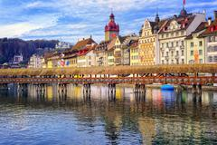 Lucerne, Switzerland, view over Reuss river to the old town and wooden Chapel Stock Photos