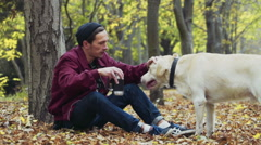 Man and the dog sitting near the tree in autumn park drinking coffee Stock Footage