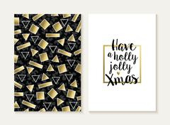 Merry christmas card set retro gold 80s pattern Stock Illustration