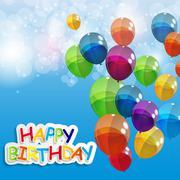 Stock Illustration of Color Glossy Balloons Happy Birthday Background Vector Illustrat