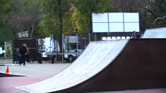 Boy fall with bmx bike. Slow motion 400fps in city park of Krasnodar EDITORIAL Stock Footage