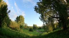 Sunset over the village Babina Gora, Kungurskiy District, Perm Krai,  Stock Footage