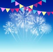 Stock Illustration of Vector Illustration of Fireworks, Salute on a Dark Background