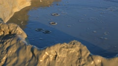 Mud volcanoes wide landscape - strange geological phenomenon.  - stock footage