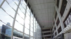 4K Distorted interior view of large modern office building. No people. Stock Footage