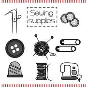 Set sewing tools in Doodle style Stock Illustration