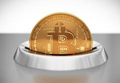 Putting Bitcoin Into Coin Slot Stock Illustration