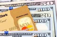 MasterCard Credit Card with US dollar bills Stock Photos