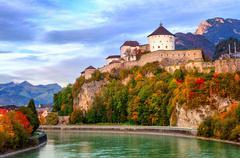 Castle Kufstein on the Inn river, Austria Stock Photos