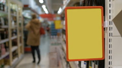 Empty advertising board in the supermarket Stock Footage