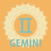 Stock Illustration of Gemini. Twins. Zodiac icon with mandala print. Vector icon